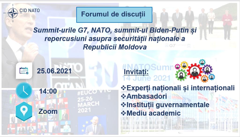 Rezumatul forumului de discuții: Summit-urile G7, NATO, summit-ul Biden-Putin și repercusiuni asupra securității naționale a Republicii Moldova